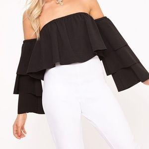 Black Bardot Layered Frill Sleeve Crop Top
